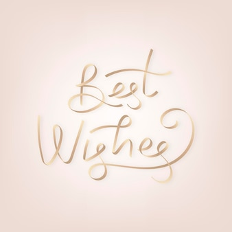 Złote najlepsze życzenia wektor typografii