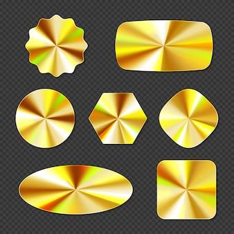 Złote naklejki holograficzne, hologramowe etykiety o różnych kształtach.