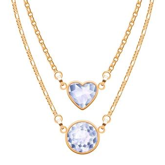Złote naszyjniki łańcuszkowe z okrągłymi i diamentowymi zawieszkami w kształcie serca. biżuteria.