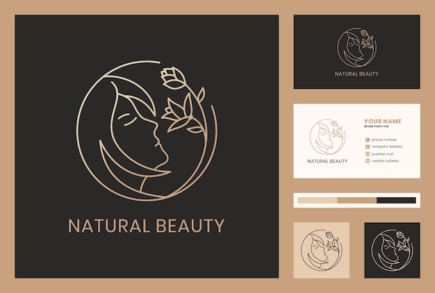 Złote naturalne piękno / kwiat łączą się z projektem logo twarzy kobiety. elegancki szablon wizytówki.