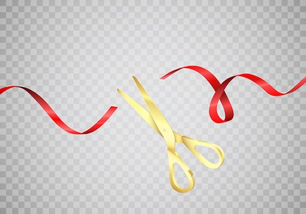 Złote nożyczki przecinają czerwoną jedwabną wstążkę. rozpocznij świętowanie. uroczyste otwarcie. realistyczne ilustracji wektorowych na białym tle