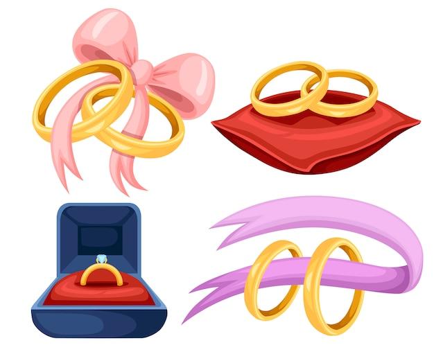 Złote obrączki ślubne na czerwonej aksamitnej poduszce, fioletowa wstążka. złoty zestaw biżuterii. płaskie ilustracja na białym tle