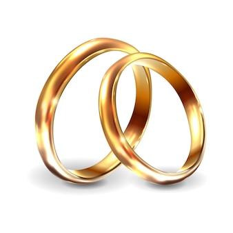Złote obrączki ślubne realistyczne zaręczyny