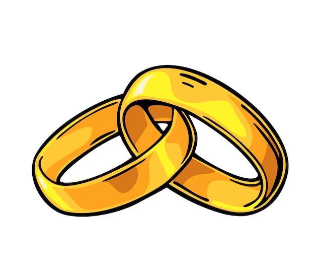 Złote obrączki ślubne. ręcznie rysowane w stylu graficznym. płaskie ilustracja wektorowa kolor vintage dla informacji graficznych, plakat, www. na białym tle
