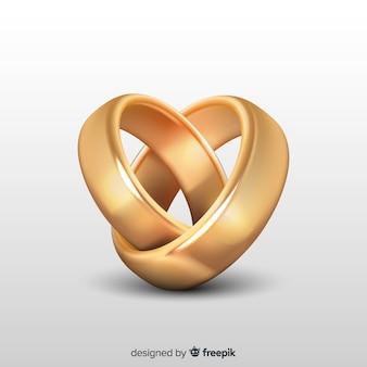 Złote obrączki ślubne w realistycznym stylu