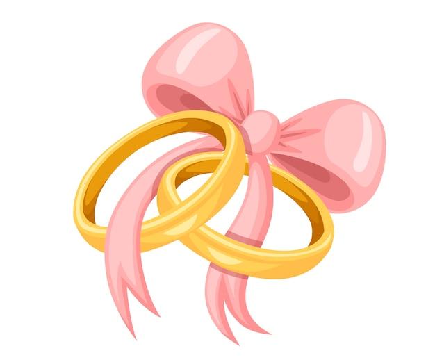 Złote obrączki ślubne z ilustracją różowej kokardki
