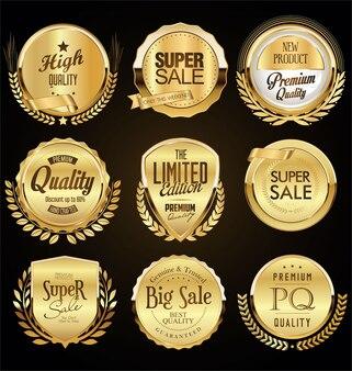 Złote odznaki i laurowa kolekcja retro vintage
