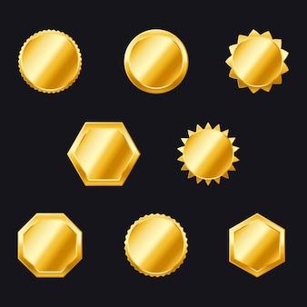 Złote odznaki. kolekcja etykiet i tarcz. zestaw kolekcji ozdobnej złotej ramie. złota pieczęć