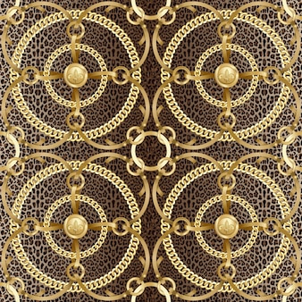 Złote okrągłe łańcuchy wstążka wzór na tle lamparta moda zwierząt i nadruk biżuterii