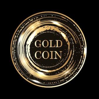 Złote okrągłe metalowe kółka z błyszczącym tłem. świecące ramki streszczenie