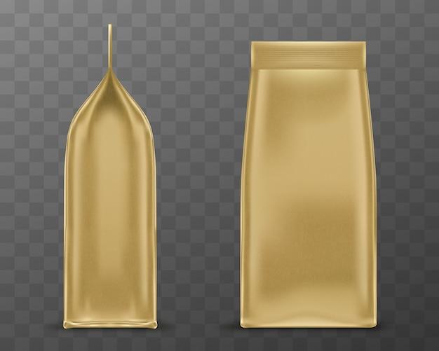 Złote opakowanie, torebka papierowa lub foliowa torba