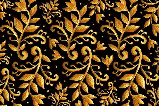 Złote ozdobne tapety kwiatowe