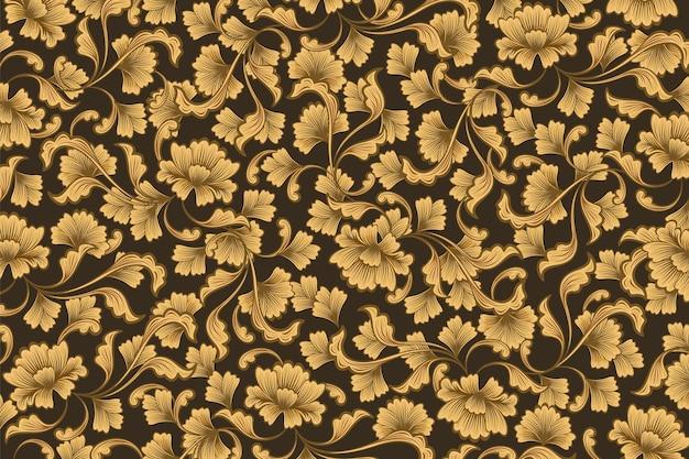 Złote ozdobne tło kwiatowy