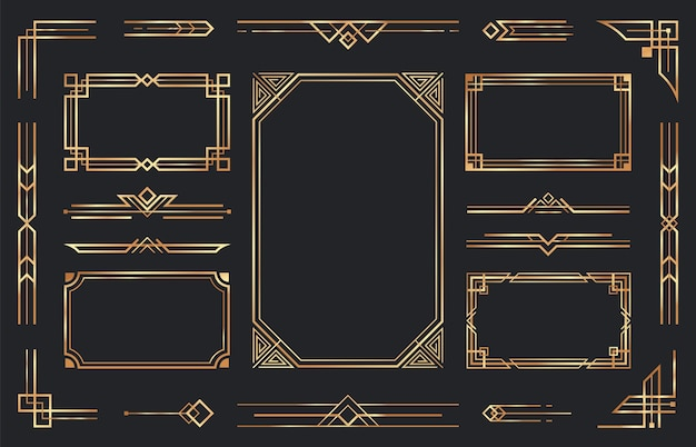 Złote ozdoby w stylu art deco. arabskie antyczne ozdobne złote obramowanie, retro geometryczna ozdobna rama i ozdobne złote rogi