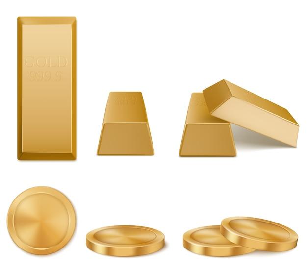 Złote paski, żółte sztabki metalu i monety na białym tle. pojęcie inwestycji pieniężnych, solidnej waluty, rezerwy finansowej. realistyczny zestaw czystych sztabek złota i widok z góry monet