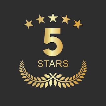 Złote pięć gwiazdek oznacza luksusowy projekt hostelu hotelowego i apartamentu