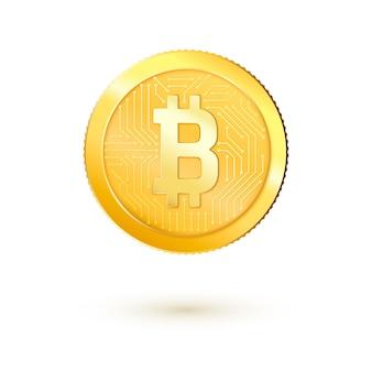 Złote pieniądze bitcoin. realistyczne bitcoiny 3d