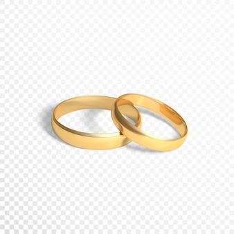 Złote pierścienie symbol małżeństwa. dwa złote pierścienie. ilustracja na przezroczystym tle