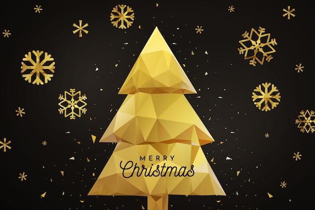 Złote płatki śniegu i złote drzewo na czarnym tle