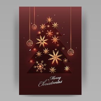 Złote płatki śniegu z wiszącymi bombkami ozdobione etruskim czerwonym papierem wyciąć styl xmas tree