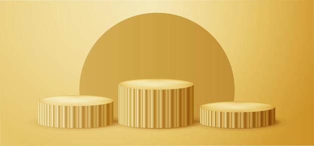 Złote podium 3d do prezentacji produktów lub zwycięzców konkursów