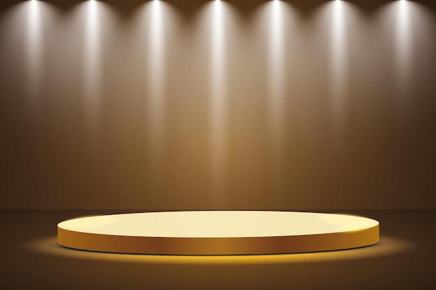 Złote podium z reflektorem na ciemnym tle, pierwsze miejsce, sława i popularność.