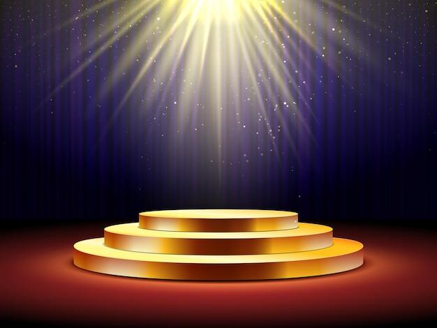 Złote podium z żółtymi światłami