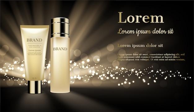 Złote produkty kosmetyczne z błyszczącym światłem i brokatem