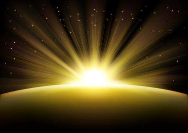 Złote promienie powstanie tło