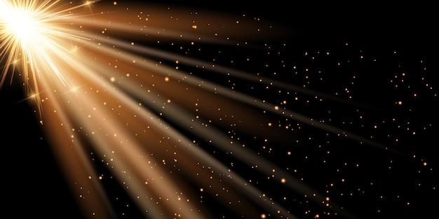 Złote promienie transparent tło