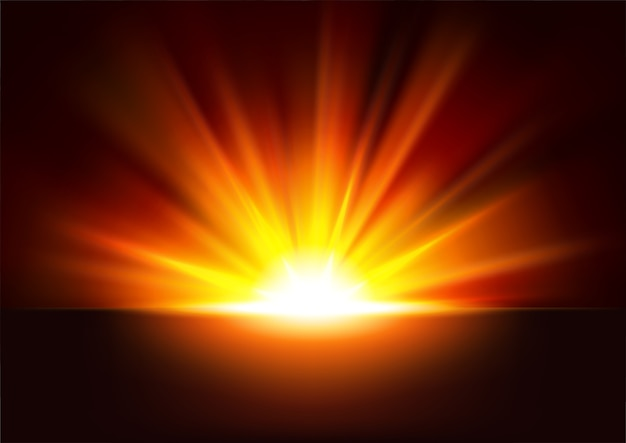 Złote promienie wzrasta na ciemnym tle