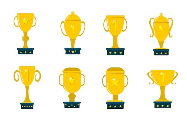 Złote puchary, nagrody dla zwycięzców. puchar za mistrzostwo