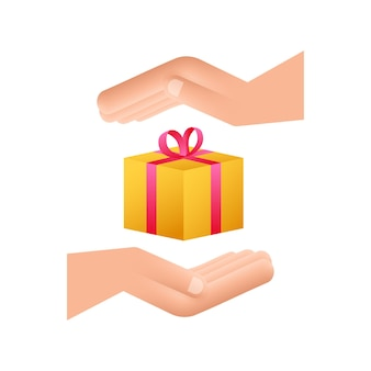 Złote pudełko na nagrody w niesamowitym stylu w rękach. obecna ikona pola prezent. czas ilustracja wektorowa.