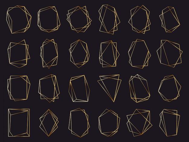 Złote ramki geometryczne. eleganckie złote luksusowe ramki, geometryczne obramowanie zaproszenia ślubne. zestaw symboli streszczenie złote elementy. ilustracja asymetryczna wielokątna, trójkąt deluxe