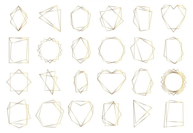 Złote ramki geometryczne. eleganckie złote sześciokątne elementy, abstrakcyjne ramki na zaproszenia ślubne. zestaw symboli granicy rocznika luksusu. ilustracja postaci geometrycznej złoty kształt, sześciokąt i okrąg