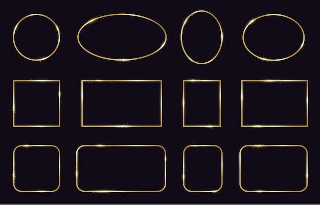 Złote ramki. nowoczesne złote geometryczne ramki, eleganckie złote świecące obramowania. zestaw ikon ramki dekoracyjne, nowoczesne linie. kwadratowy i owalny kształt, ilustracja ramki szablonu ślubu