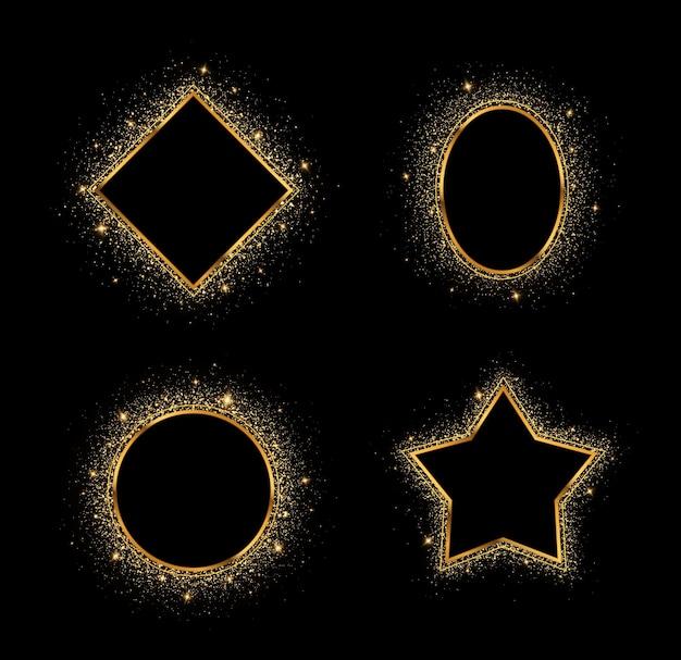 Złote ramki o różnych geometrycznych kształtach błyszczące jasne ramki na święta