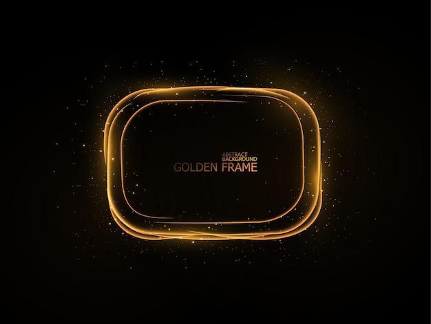 Złote ramki świetlne zestaw teementy z efektem błysku na czarnym tle
