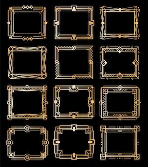 Złote ramki w stylu art deco. złote luksusowe rocznika prostokątne obramowania, wzory linii geometrii, elementy pustego stylu lat 20. xx wieku, kolekcja abstrakcyjnych kształtów dekoracyjnych retro, zestaw ilustracji wektorowych na białym tle