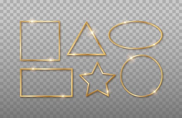Złote realistyczne kształty geometryczne 3d. prostokąt, kwadrat, owal, koło, gwiazda. ramki o różnych kształtach