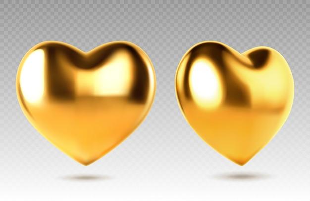 Złote realistyczne serce. ilustracja wektorowa metalu w kształcie serca. złoty błyszczący kształt serca na przezroczystym tle.