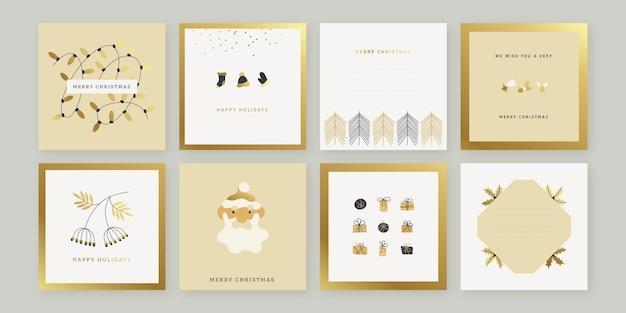 Złote ręcznie rysowane kartki świąteczne