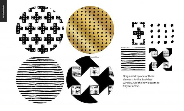 Złote ręcznie rysowane wzory