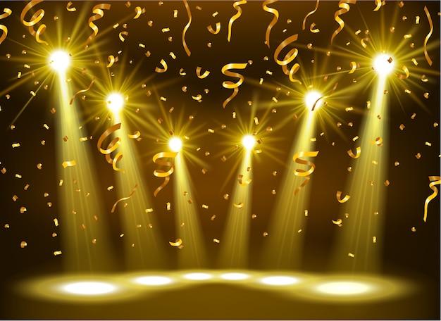 Złote reflektory oświetlone