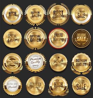 Złote retro vintage odznaki i etykiety