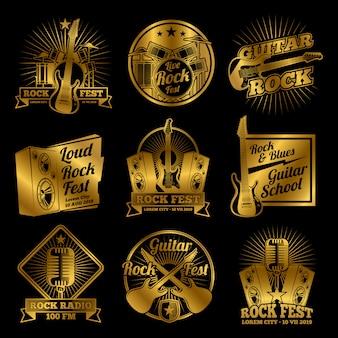 Złote rock and roll muzyka wektor etykiety, odznaki, godło zestaw