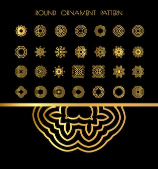 Złote rocznika okrągłe mandale na czarno