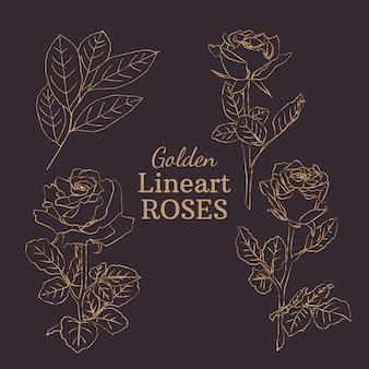 Złote róże lineart