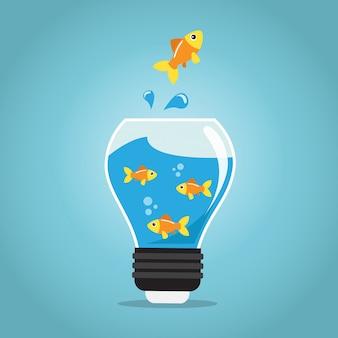 Złote ryby skaczące poza żarówką akwariową