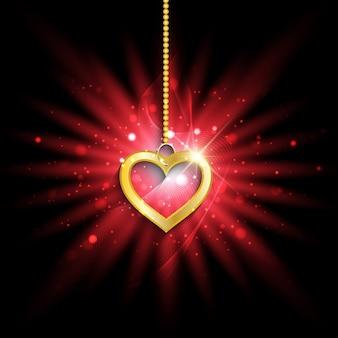 Złote serca na tle wybuchającej